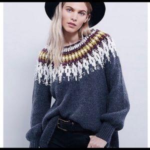 Free People Baltic Fair Isle Gray Sweater sz M